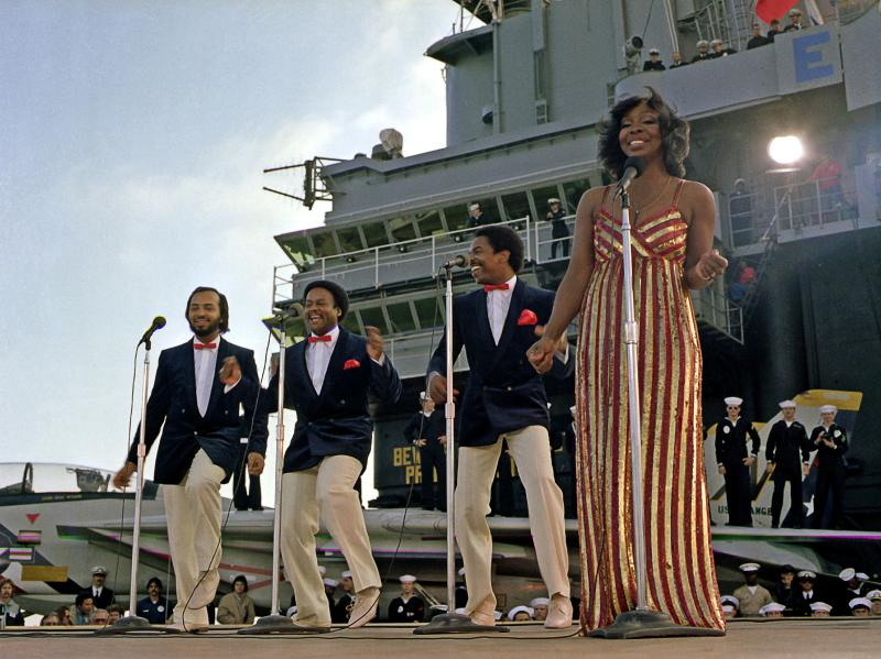 "Left to right: William ""Red"" Guest, Edward Patten, Merald ""Bubba"" Knight, and Gladys Knight."