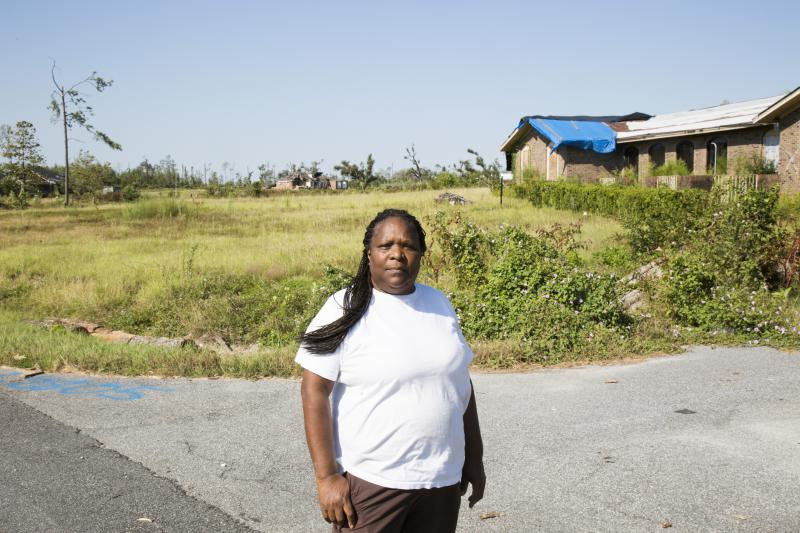 Cary Westbrooks in front of her home in Radium Springs just outside Albany. The tornado that came through her neighborhood on January 22 left her house unlivable. Now she and the rest of Southwest Georgia are in the path of Hurricane Irma.