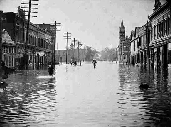 Storm surge from a landfalling hurricane on Cumberland Island, Georgia in 1898. This is looking south on Newcastle Street in Brunswick, Georgia.