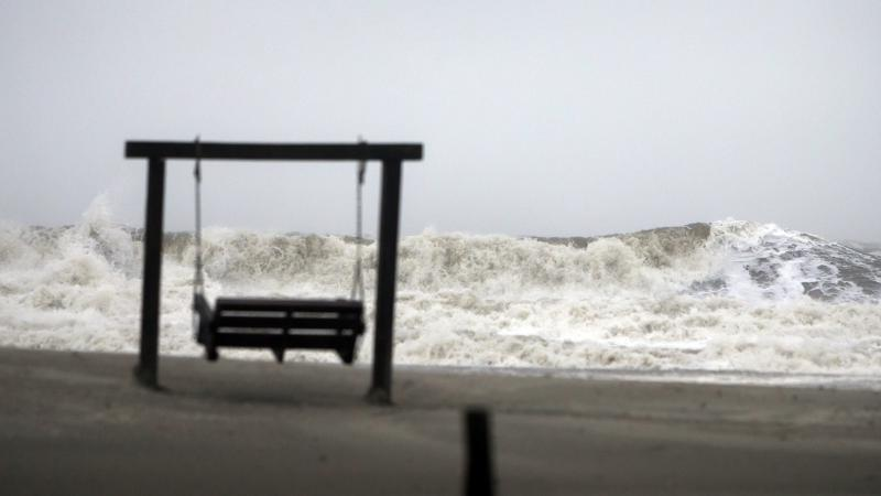 Waves on the southend beach of Tybee Island, Ga. pound the beach as Tropical Storm Irma heads into the state, Monday, Sept., 11, 2017. Tybee officials said wind gusts are reported at 60 miles per hour on the beach.