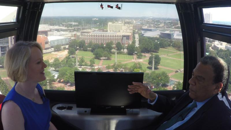 GPB's Rickey Bevington sits down with former Atlanta Mayor and U.S. Ambassador Andrew Young in the SkyView Ferris Wheel.