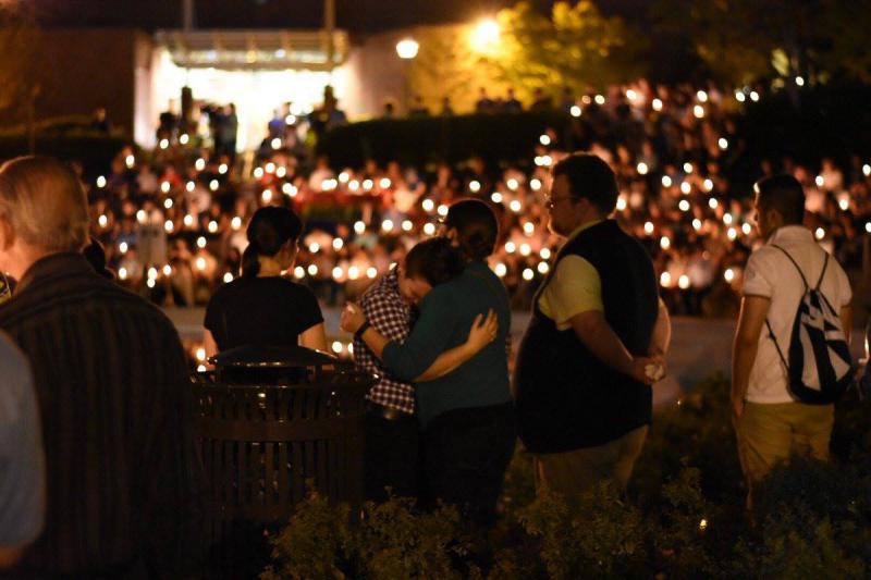 Mourners gathered on Monday, Sept. 18, 2017, in Atlanta, for Georgia Tech student Scout Schultz who was shot and killed by campus police on Saturday, Sep. 16, 2017.