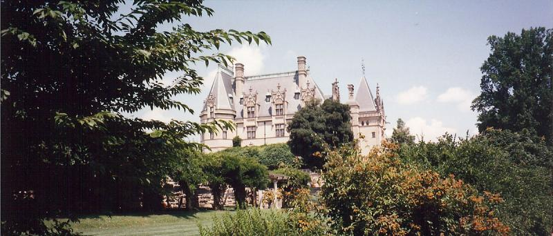 View of the gardens of the Biltmore Estate.