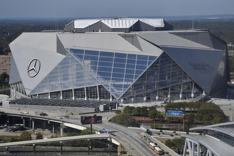 Home of the NFL football Atlanta Falcons and the MLS soccer team, Atlanta United, the Mercedes-Benz stadium is seen, Wednesday, Oct. 4, 2017, in Atlanta.