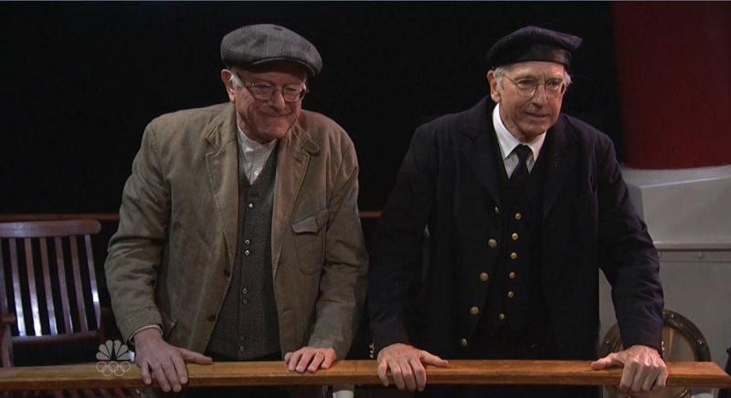 """U.S. Sen. Bernie Sanders appears on Saturday Night Live with comedian Larry David on Feb. 6, 2016. The two learned  on PBS' """"Finding Your Roots"""" that they're related."""