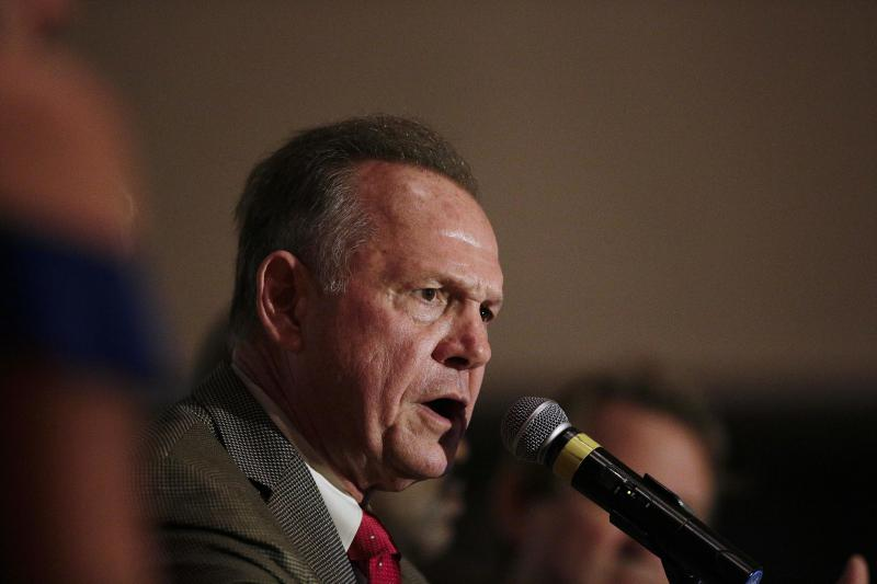 Former Alabama Chief Justice and U.S. Senate candidate Roy Moore during speaks during his election party, Tuesday, Sept. 26, 2017, in Montgomery, Ala.