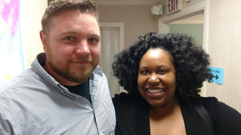 Podcast host Kalena Boller with Bradley Field, a veteran who now works in the film industry. He has done security work for several DC films, and currently works in accounting.