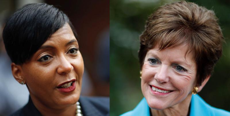 If Mary Norwood (right) wins, Atlanta would have its first-ever white female mayor. A victory by Keisha Lance Bottoms would continue what has been called the city's black political machine, which has dominated the mayor's office since the mid-1970s.