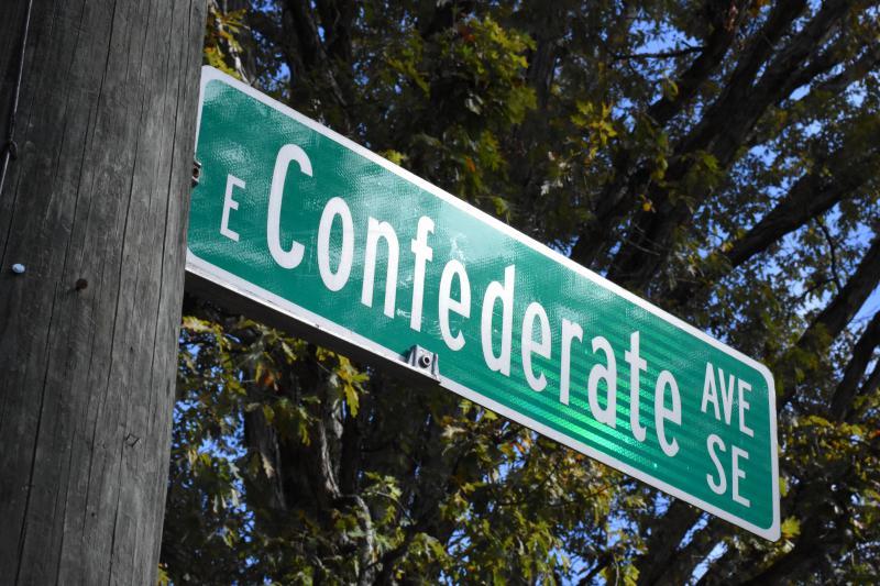 A street sign marks East Confederate Avenue in Atlanta.