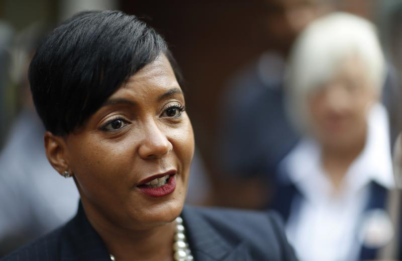 In this Tuesday, Nov. 7, 2017 file photo, Atlanta city councilwoman and mayoral candidate Keisha Lance Bottoms talks to the press after voting at a polling site in Atlanta.