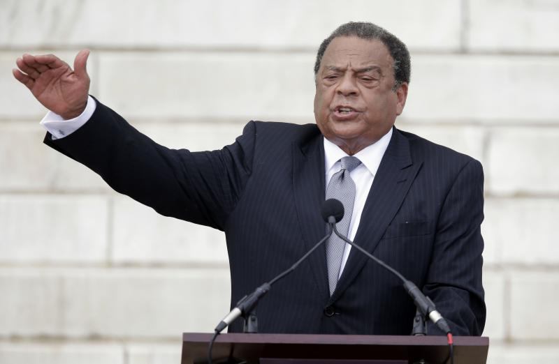 In this Aug. 28, 2013 file photo, former United Nations Ambassador Andrew Young speaks at the Let Freedom Ring ceremony at the Lincoln Memorial in Washington to commemorate the 50th anniversary of the 1963 March on Washington for Jobs and Freedom.