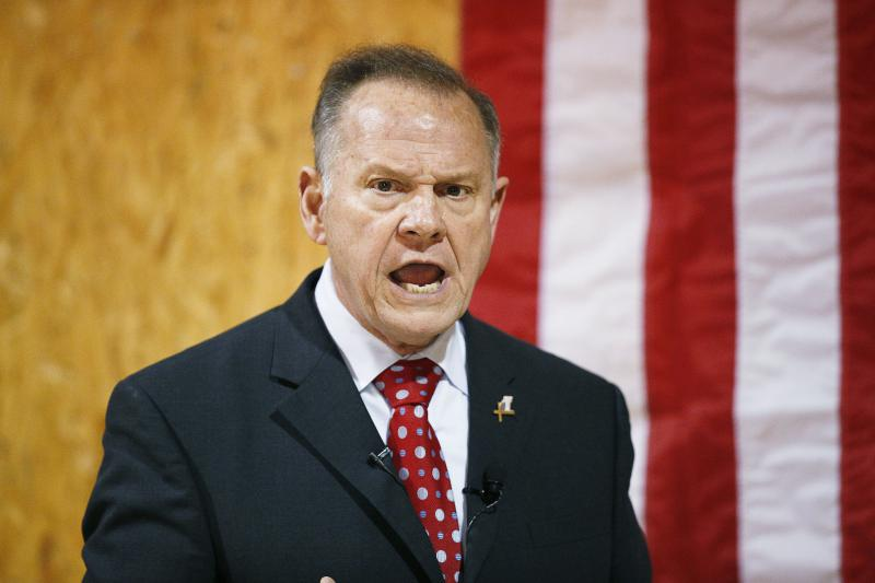 In this Nov. 30, 2017 photo, former Alabama Chief Justice and U.S. Senate candidate Roy Moore speaks at a campaign rally, in Dora, Ala.
