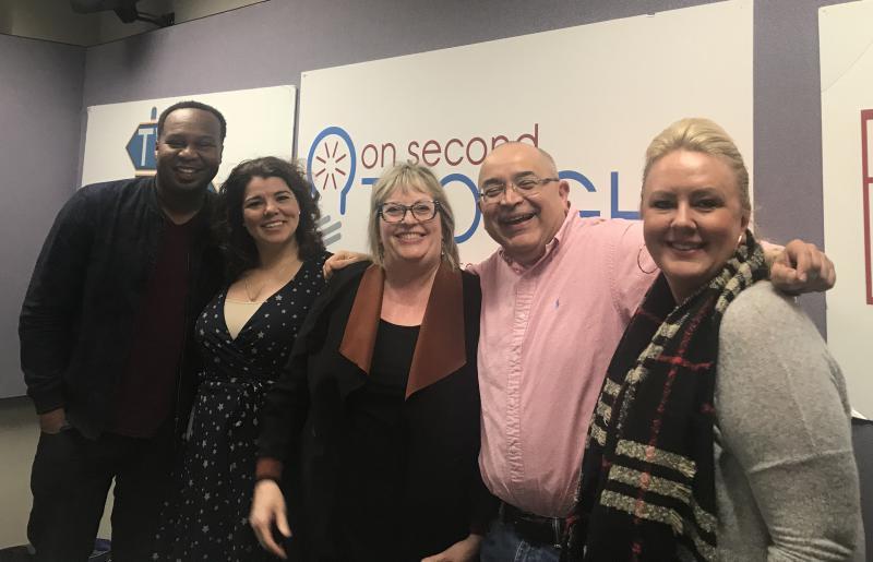 The Breakroom panel (l to r): Roy Wod, Jr., host Celeste Headlee, Kathy Lohr, Hector Fernandez, and Julianne Thompson.