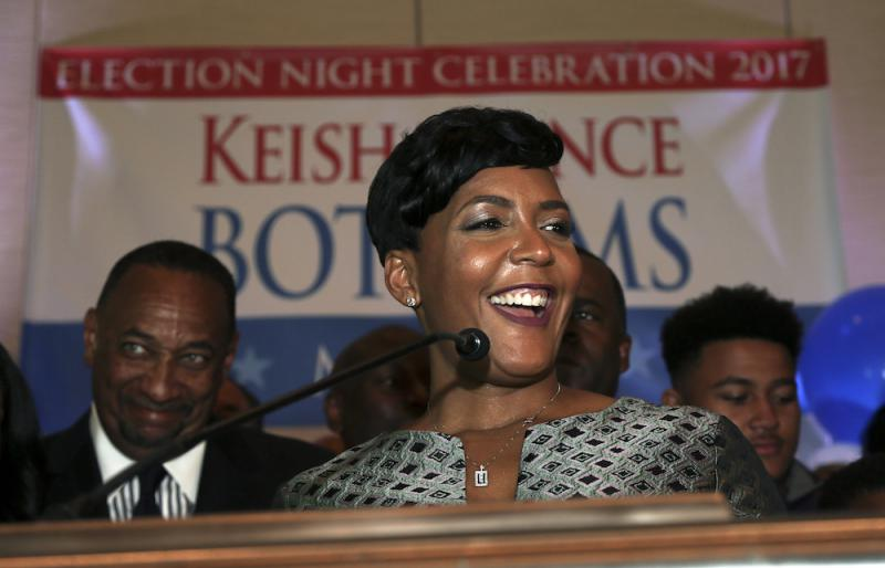 Atlanta mayoral candidate Keisha Lance Bottoms declares victory during an election-night watch party Wednesday, Dec. 6, 2017, in Atlanta. Atlanta's two-person mayoral runoff election is too close to call.