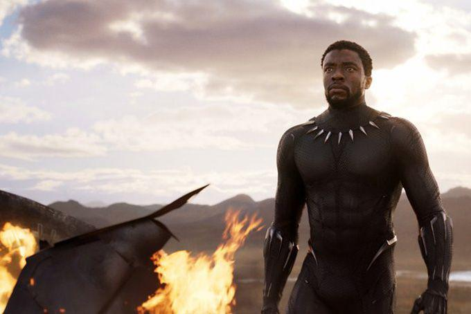"This image released by Disney and Marvel Studios' shows Chadwick Boseman in a scene from ""Black Panther,"" in theaters on Feb. 16, 2018."