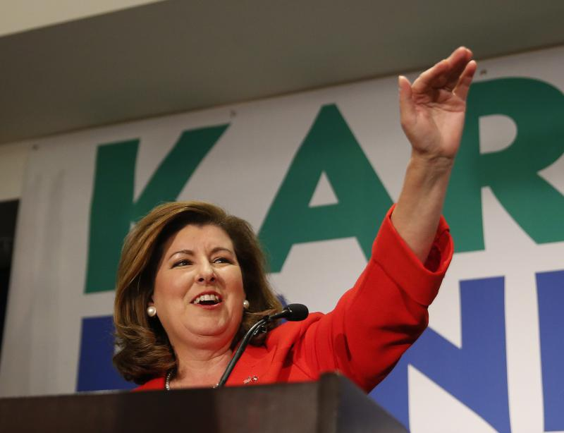 Republican candidate for Georgia's 6th District Congressional seat Karen Handel declares victory during an election-night watch party Tuesday, June 20, 2017, in Atlanta.