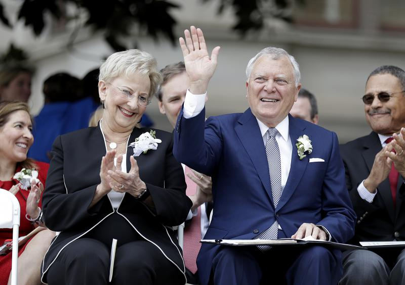 Georgia Gov. Nathan Deal, right, and wife Sandra attend a ceremony unveiling a statue paying tribute to civil rights leader Martin Luther King Jr. on the state Capitol grounds in Atlanta, Monday, Aug. 28, 2017.