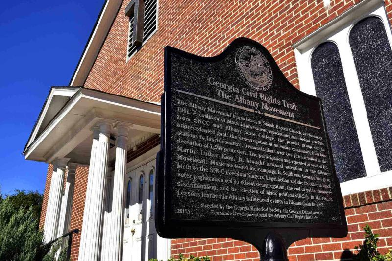 A historical marker at Shiloh Missionary Baptist Church commemorates the December day in 1961 when Dr. Martin Luther King Jr. spoke to a crowd at Mount Zion Church that was so large – about 1,500 – that it spilled over to Shiloh.