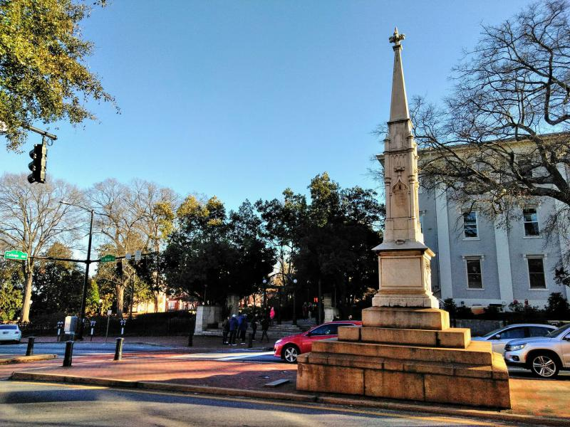 The Confederate memorial on Broad Street in Athens.