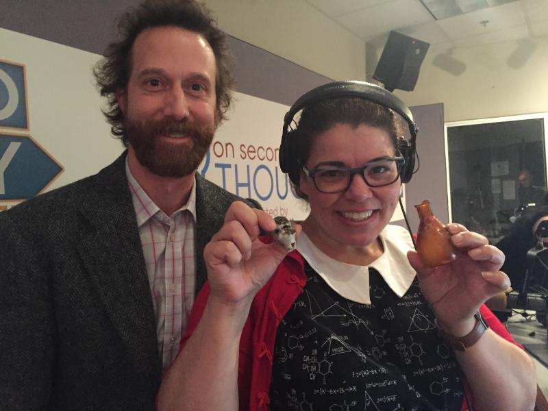 "Jeffrey Glover and OST host Celeste Headlee with a doll's head and ""meat juice."""