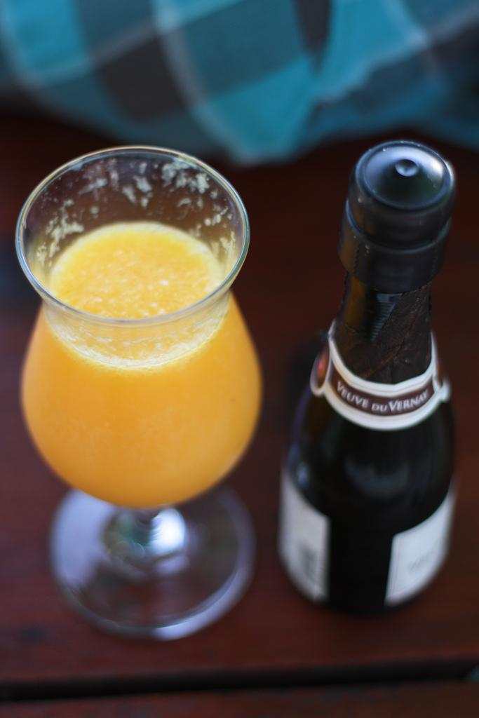Mimosa: half orange juice & half champagne