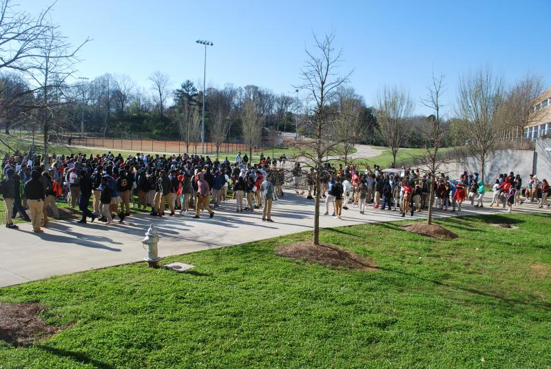 Students walk out of Maynard Jackson High School in East Atlanta