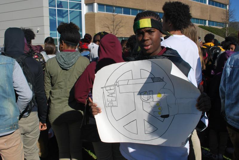 Rashawn Collins, 16, at Maynard Jackson High School in East Atlanta