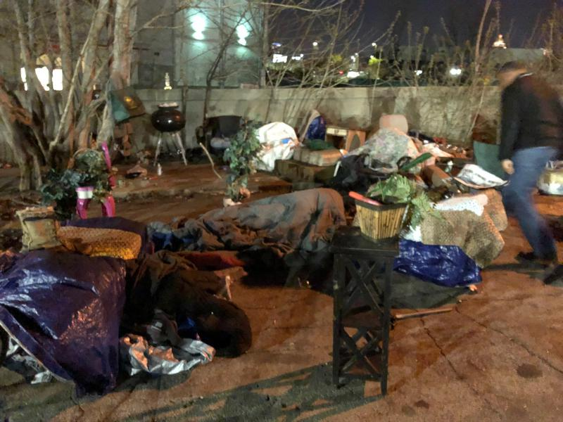 A spot in Atlanta where homeless people camp out at night.