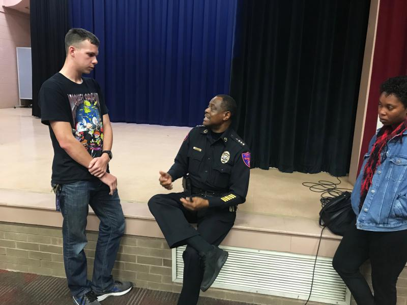 Chief James Barnwell talks to students about how to legally carry concealed guns on campus after an educational meeting about active shooters.