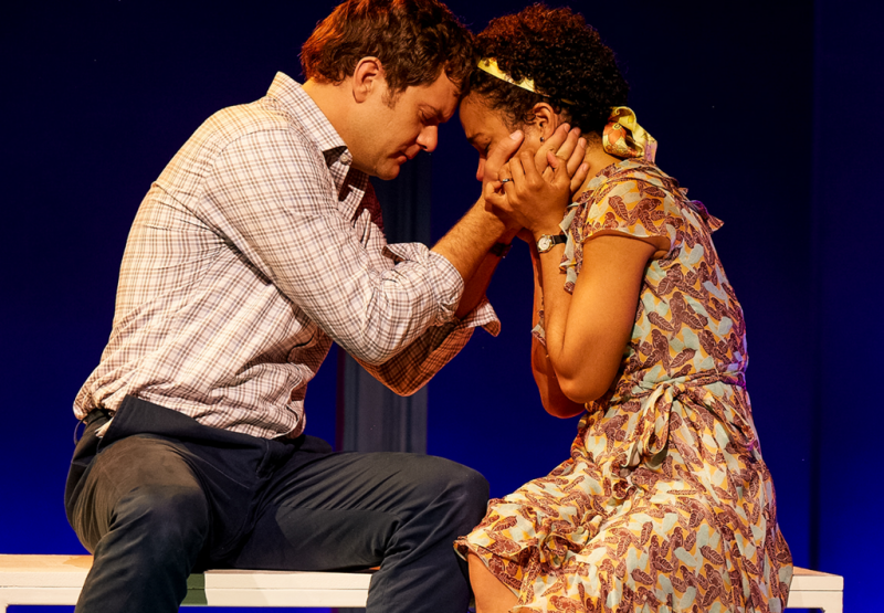 "Joshua Jackson and Lauren Ridloff in ""Children of a Lesser God."""