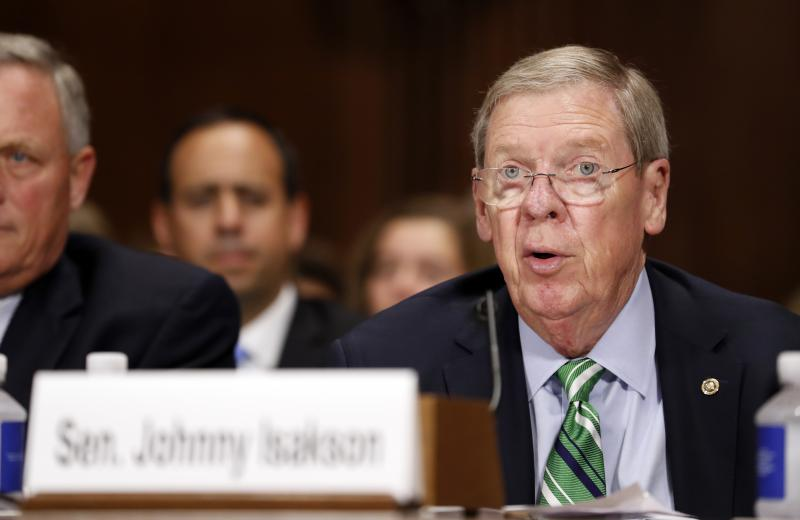 Sen. Johnny Isakson, R-Ga., speaks during a Senate Judiciary Committee hearing for Colorado Supreme Court Justice Allison Eid, on her nomination to the U.S. Court of Appeals for the 10th Circuit, on Capitol Hill, Wednesday, Sept. 20, 2017 in Washington.