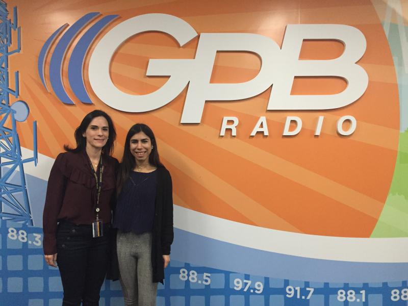 Jamily Aly Pons (right), a university student from Puerto Rico, does research in Georgia Tech's Economic Development Lab, for which Monica Novoa (left) is program manager.
