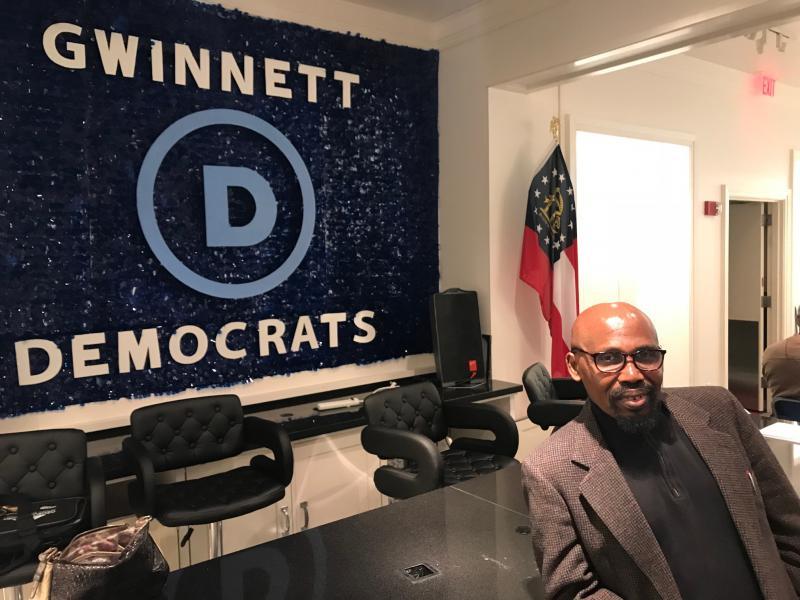 Gwinnett County Democratic Party Chair Gabe Okoye at HQ.