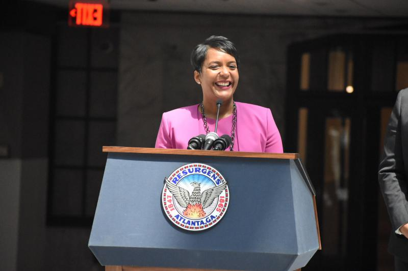 Atlanta Mayor Keisha Lance Bottoms speaks to city employees at City Hall, April 10, 2018.