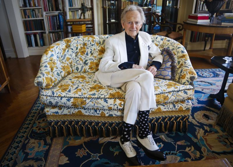 "In this July 26, 2016 photo, American author and journalist Tom Wolfe, Jr. appears in his living room during an interview about his latest book, ""The Kingdom of Speech,"" in New York."