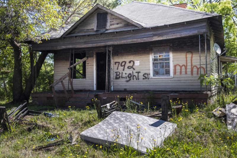 A blighted home that was set on fire recently on Patterson Street in Macon.