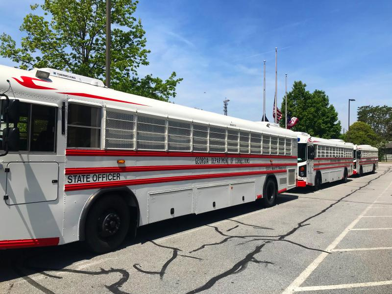 Georgia Department of Corrections buses were at the ready in case of arrests, a Corrections Officer said.