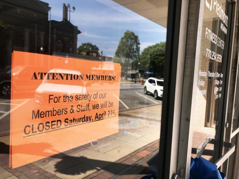 Many businesses in historic Newnan closed Saturday.
