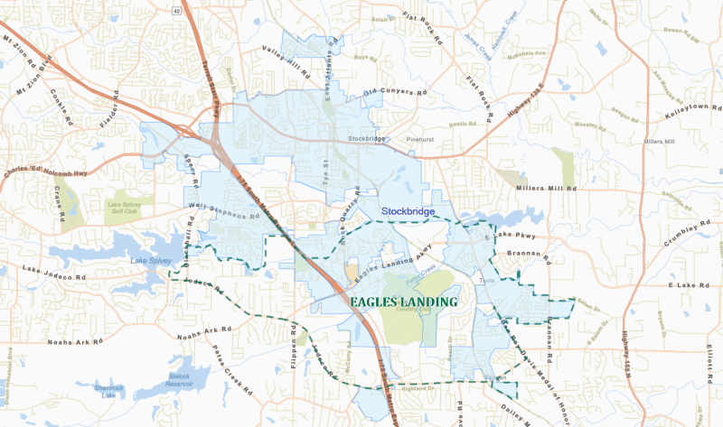 The proposed city of Eagles Landing (green outline) would require de-annexing part of the City of Stockbridge (light blue)