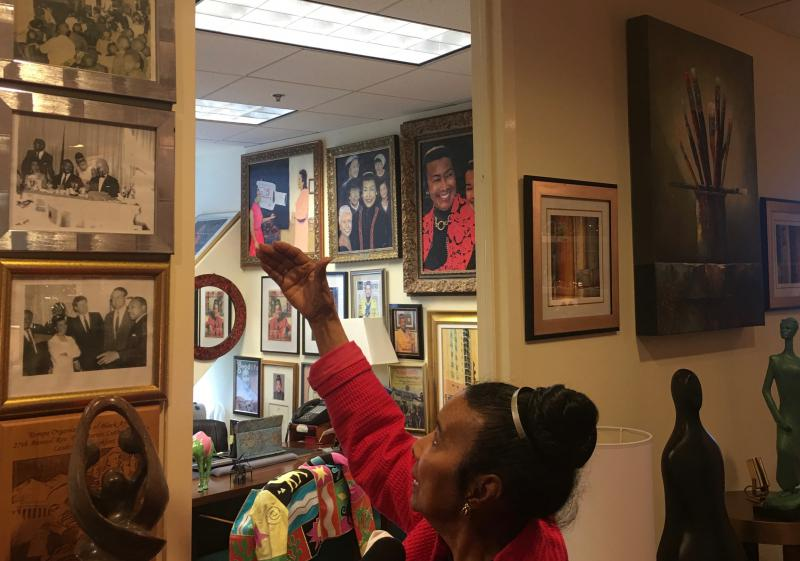 Clayton's office is filled with memorabilia from the civil rights movement.