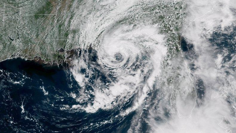 A satellite image shows Alberto as it nears landfall on the Florida Panhandle and the Gulf Coast on Monday.