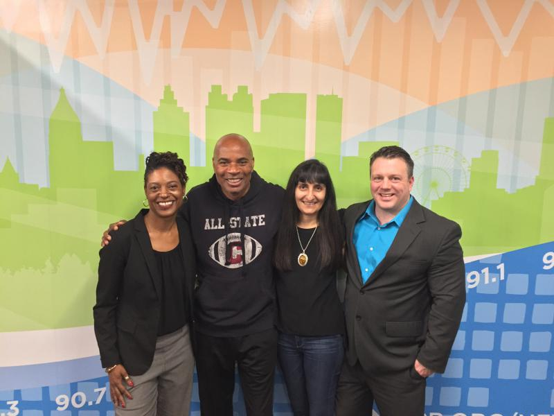 Tomika DePriest (left) joined On Second Thought host Tony Harris (center left) for the Breakroom. Anjali Enjeti (center right) and Greg Williams (right) also joined. Ed Sohn joined by phone.