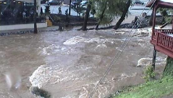 A screenshot of the live webcam video at Chattahoochee River at Helen taken about 6:15 p.m. Thursday
