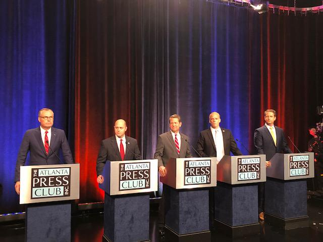Georgia Republican candidates for governor, from left to right: Casey Cagle, Hunter Hill, Brian Kemp, Clay Tippins and Michael Williams.