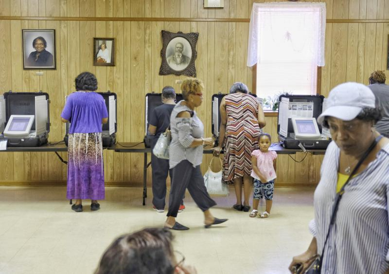 At the East Macon 4 Voting Precinct at New Griswoldville Baptist Church, 130 people had voted by 11 am, Tuesday, May 22, 2018.