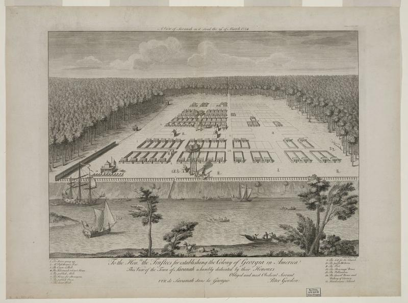 A view of Savannah dated 1734 shows Oglethorpe's original plan for lots arrayed around open squares. It's the basis for the Johnson Square mosaic.