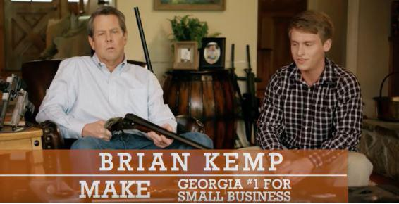 Georgia GOP gubernatorial candidate Brian Kemp aims a shotgun at a teenage boy looking to date one of his daughters in his newest campaign ad.