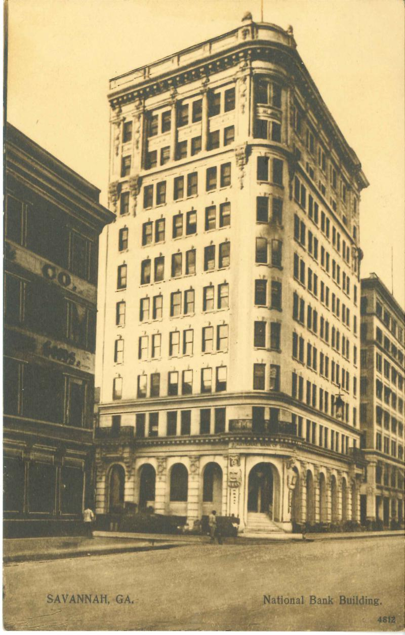 The corner of Bull and Broughton, at the heart of the downtown retail corridor, was once home to the National Bank building.