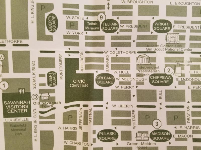 A free map for tourists shows how the Civic Center complex eliminates the Oglethorpe plan around Orleans Square.