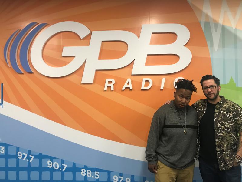 Power lifter Rese Weaver and filmmaker T. Cooper at the GPB Radio studio in Atlanta.